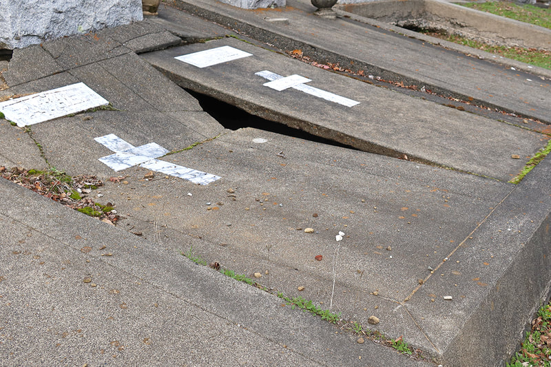 damaged grave site