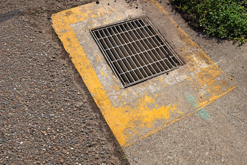 drain on sidewalk