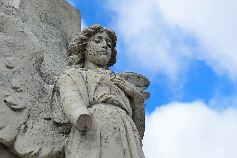 hand missing on angel statue
