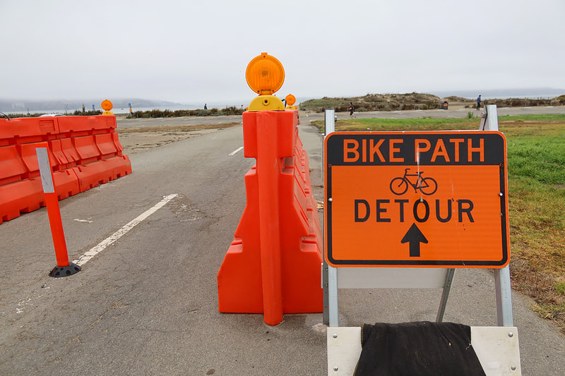 bike path detour sign