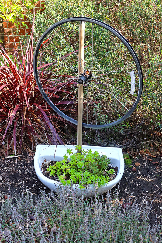 bicycle wheel in planter